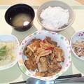 写真: 11月21日夕食(豚肉の甘辛炒め) #病院食