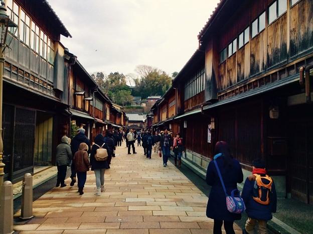 金沢ひがし茶屋街の街並み。。2月15日