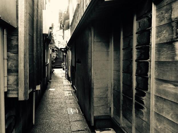 主計町茶屋街の路地裏風景。。2月15日