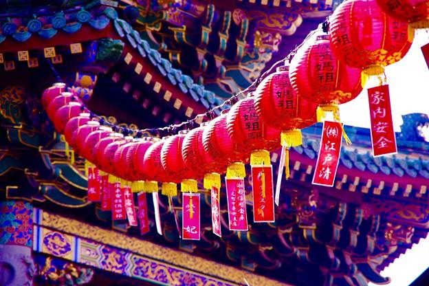 横濱媽祖廟の提灯飾り。。春節 2月21日