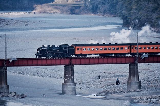 大井川を渡る大井川鐵道SL。。