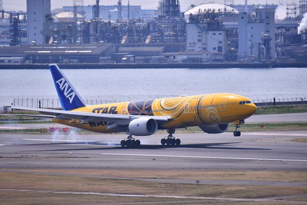 羽田ランウェイ34L ランディングANA C-3PO JET 20170325