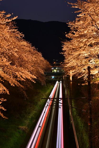 山北へ向かう御殿場線上り テールランプ 夜桜トンネル 20170410