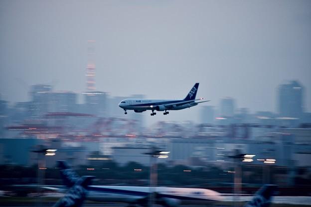 夕暮れの羽田空港ランウェイ22アプローチ ANA767 20170527