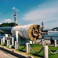 ヴェルニー公園の風景 護衛艦と戦艦陸奥主砲 20170610