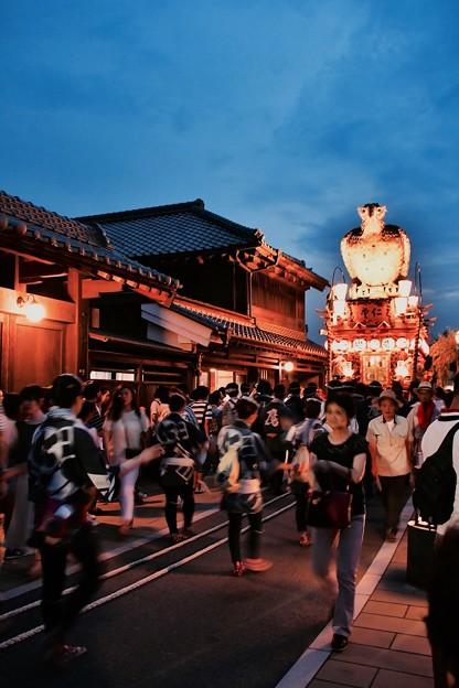 ライトアップされた山車と昔の町並み 佐原の大祭夏祭り 20170716