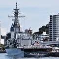 吉倉桟橋から見る試験艦あすか。。20170805