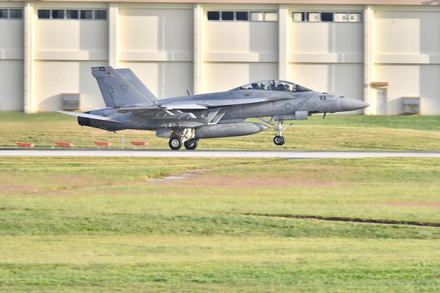 西陽を浴びてDバックスのF/A-18F 嘉手納基地ランディング 20171122