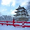 写真: 雪化粧の城