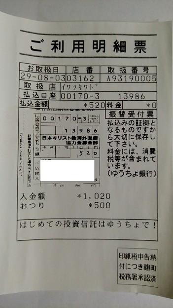 日本キリスト教海外医療協力会に寄付金を送金した明細書
