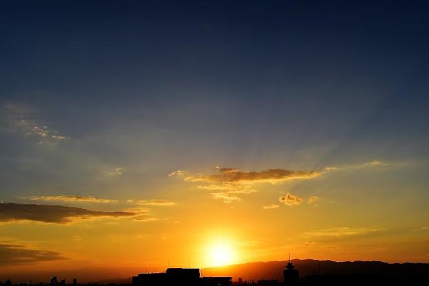 夕日と六甲山