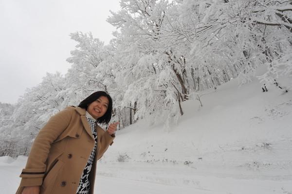 白い枝の美しさに家内も喜んでくれます