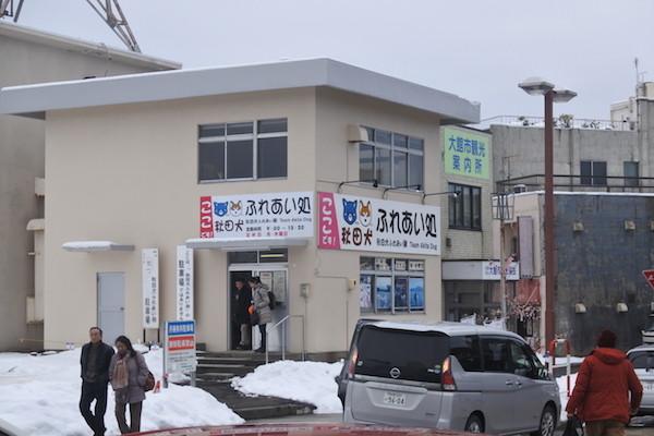 駅前に秋田犬と触れ合える施設があります