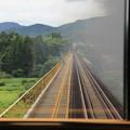 写真: SLばんえつ物語 グリーン車専用展望 一ノ戸川橋梁