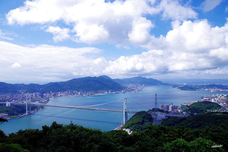 火の山から見る関門海峡