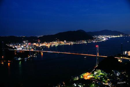 火の山から見る関門橋夜景